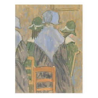 Nuns & schoolgirls standing in church by Gwen John Postcard