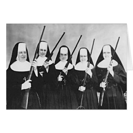 Nuns With Guns Greeting Cards