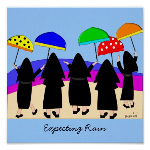 Nuns With Umbrellas Art Poster
