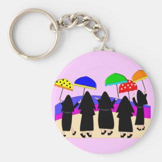 "Nuns With Umbrellas ""Expecting Rain"" Key Ring"