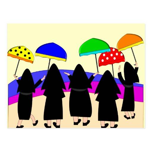 "Nuns With Umbrellas ""Expecting Rain"" Postcard"
