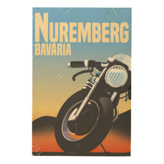 Nuremberg, Bavaria Motorcycle vintage travel poste Wood Canvas