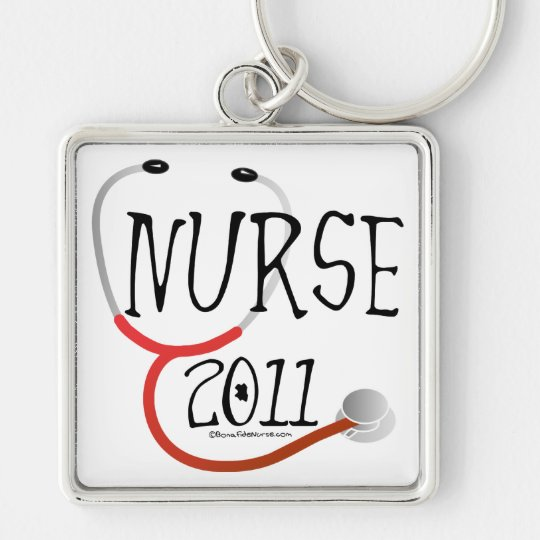 Nurse 2011 Graduation Silver-Colored Square Key Ring