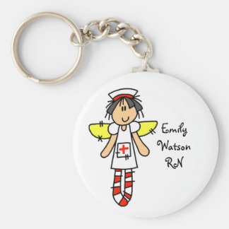 Nurse Angel Basic Round Button Key Ring