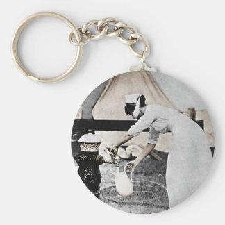 Nurse at Water Pump WWI Basic Round Button Key Ring