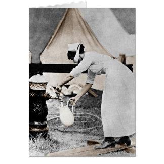 Nurse at Water Pump WWI Greeting Card