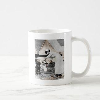 Nurse at Water Pump WWI Basic White Mug