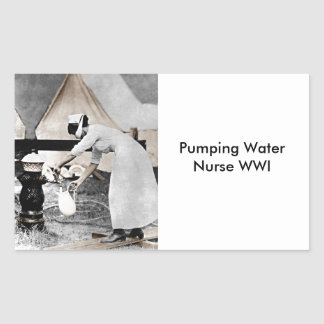 Nurse at Water Pump WWI Rectangular Sticker