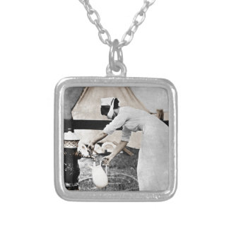 Nurse at Water Pump WWI Square Pendant Necklace