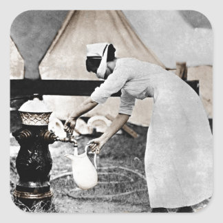 Nurse at Water Pump WWI Square Sticker
