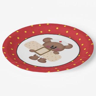 Nurse bear party paper plate