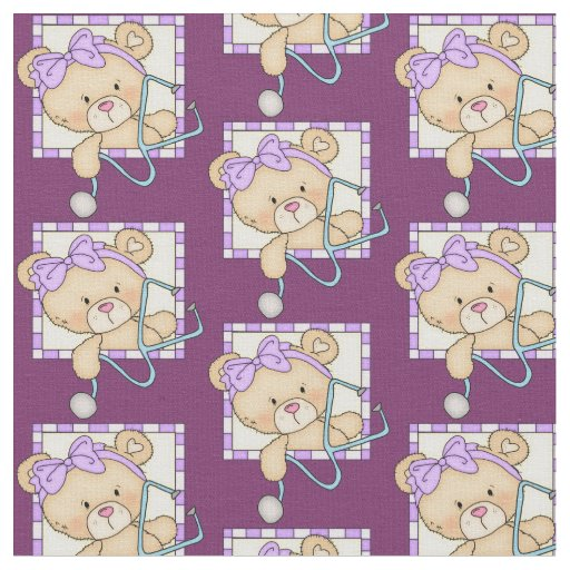 Nurse Bear Pima cotton fabric