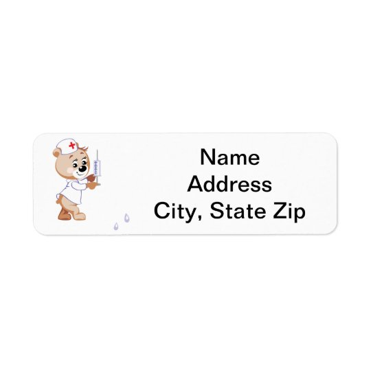 Nurse Bear Return Address Label