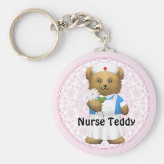Nurse Bear - Teddy Bear Basic Round Button Key Ring