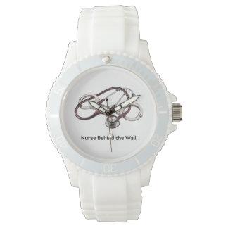Nurse Behind the Wall white wrist watch