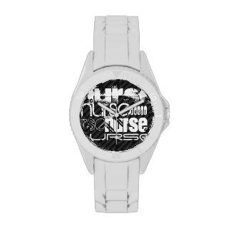 Nurse; Black & Dark Gray Stripes Watches
