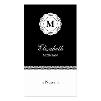 Nurse Black White Lace Monogram Pack Of Standard Business Cards