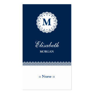 Nurse Blue White Lace Monogram Pack Of Standard Business Cards