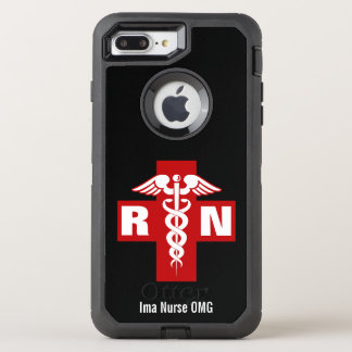 Nurse Caduceus Initials and Name OtterBox Defender iPhone 8 Plus/7 Plus Case