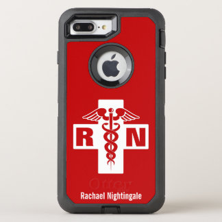 Nurse Caduceus Initials Name Template OtterBox Defender iPhone 7 Plus Case