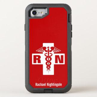 Nurse Caduceus Initials Name Template OtterBox Defender iPhone 8/7 Case