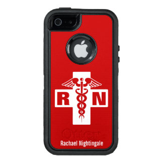 Nurse Caduceus Initials Name Template OtterBox iPhone 5/5s/SE Case