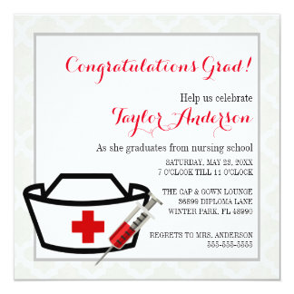 Nurse Cap  Nursing School Graduation Announcement