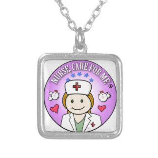 Nurse Care For Me Ginger Square Pendant Necklace