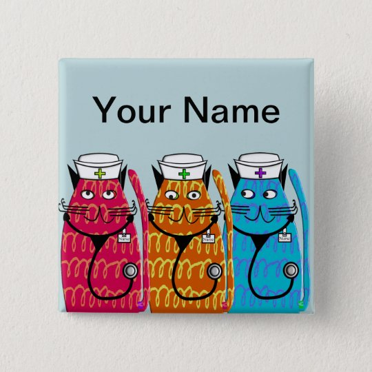 Nurse Cats Name Badge Pins Customisable III