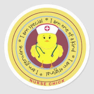 Nurse Chick Round Sticker