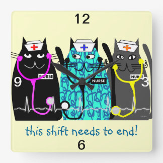 "Nurse Clock ""Whimsical Cats"""