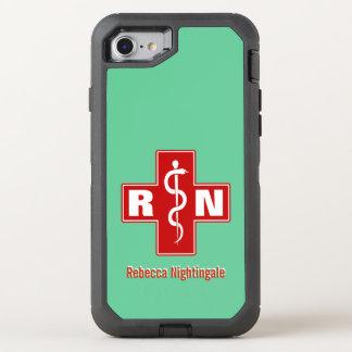 Nurse Cross Initials Name Template OtterBox Defender iPhone 8/7 Case