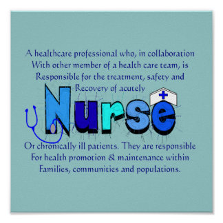 """Nurse"" Definition Art--Ready for Framing Poster"
