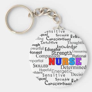 Nurse Describing Words Gifts Basic Round Button Key Ring