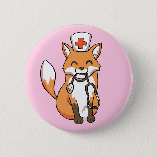 Nurse Doctor Fox Drawing Cute Pink Button Badge