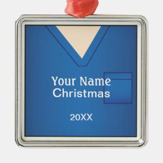 Nurse Doctor Scrubs Christmas Blue Premium 2 Christmas Ornament