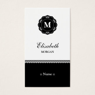 Nurse Elegant Black Lace Monogram