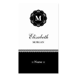 Nurse Elegant Black Lace Monogram Pack Of Standard Business Cards