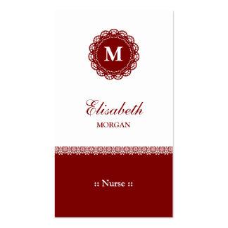 Nurse Elegant Red Lace Monogram Pack Of Standard Business Cards