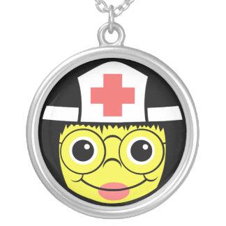 Nurse Face Silver Plated Necklace