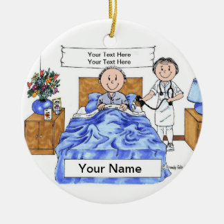 Nurse - Female, Adult Male Patient Christmas Ornament