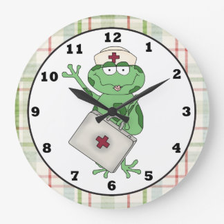 Nurse Frog Cartoon Clock