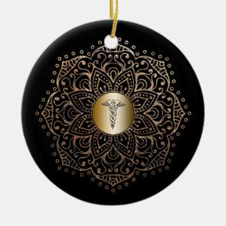 Nurse Gift RN LPN Nursing Medical Caduceus Gold Christmas Ornament