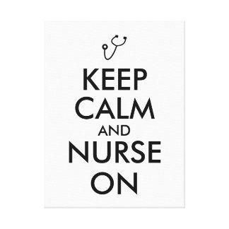 Nurse Gift Stethoscope Keep Calm and Nurse On Canvas Prints