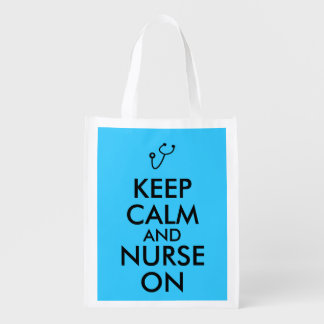 Nurse Gift Stethoscope Keep Calm and Nurse On Reusable Grocery Bag