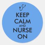 Nurse Gift Stethoscope Keep Calm and Nurse On Round Sticker