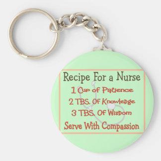 "Nurse Gifts ""Recipe For a Nurse"" Basic Round Button Key Ring"