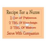 "Nurse Gifts ""Recipe For a Nurse"" Post Card"