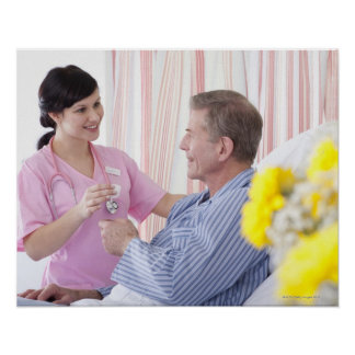 Nurse giving patient medication in hospital print