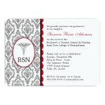 Nurse Graduation BSN RN black burgundy damask 13 Cm X 18 Cm Invitation Card